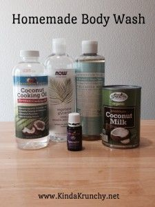 Homemade Body Wash with Young Living Essential Oils! coconut oil, dr bronners, vegetable glycerin, coconut milk