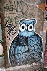 Give a Hoot (Georgie_grrl) Tags: streetart pasteup graffiti friend quebec montreal roadtrip adventure owl pentaxk1000 exploration birdsofafeather giveahoot cans2s rikenon12828mm anewplacetoexplore goingtovisitjoann