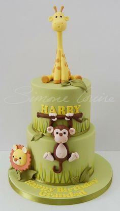 New birthday cake boys buttercream baby shower ideas Jungle Birthday Cakes, Jungle Theme Cakes, Safari Cakes, Baby Birthday Cakes, 17th Birthday, Cake Baby, Bolo Barbie, Animal Cakes, Cake Decorating Tips