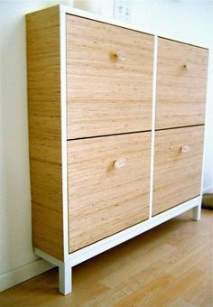 12 an IKEA Hemnes shoe cabinet updated with wood grain contact paper and sheer knobs for a cozy feel - Shelterness Shoe Storage Hacks, Storage Ideas, Diy Storage, Bathroom Storage, Organization Ideas, Storage Solutions, Apartment Therapy, Ikea Hemnes Shoe Cabinet, Light Colored Wood