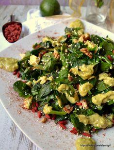 Πεντανόστιμη καταπράσινη σαλάτα με αβοκάντο κ goji berries