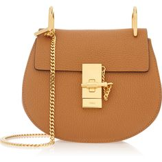 Chloé Drew mini textured-leather shoulder bag (6.570 RON) ❤ liked on Polyvore featuring bags, handbags, shoulder bags, brown, purse, mini purse, shoulder handbags, brown handbags and mini backpack purse