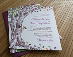 Text - Rustic Autumn Tree Wedding Invitation with Carved Initials and Love Birds in Green, Brown, Orange, Purple,  Red