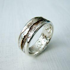 Simple Sterling Silver Birch Bark or Wood Grain Rustic Wedding Ring