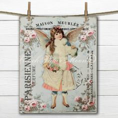Shabby Chic Victorian Angel Download, Printable Vintage Angel Digital... ($3.95) ❤ liked on Polyvore featuring home and home decor