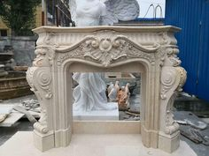 BEAUTIFUL  FRENCH STYLE CARVED MARBLE FIREPLACE MANTEL - JD808 Marble Fireplace Mantel, Fireplace Tool Set, Marble Fireplaces, Fireplace Mantels, Garage Lighting, Architectural Salvage, French Style, Art Deco, Carving