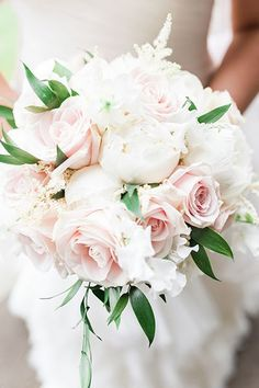 Pink roses and white peonies wedding bouquet