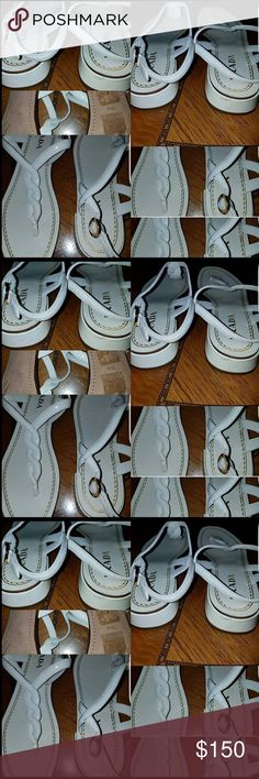 Prada white leather roped sandals 👡 size 39.5 👡 ❤️ 👡 Prada NWOT 👡 Prada white leather roped sandals size 39.5 never worn ❤️❤️ Check all pictures, a slight mark on back of sandal. Get these beautiful sandals before Spring ❤️ Prada Shoes Sandals