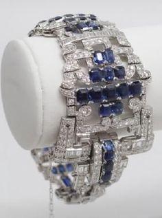 Platinum 17ct Diamond & 40ct Sapphire Art Deco Bracelet