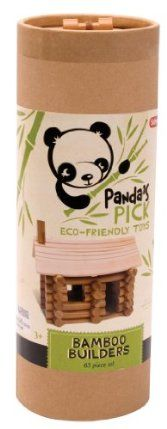 Schylling Panda's Pick Bamboo Builders by Schylling. $19.98. Includes 63 pieces. Award winner. Get creative with Bamboo Builders. Includes log and roof pieces. Made from naturally organic bamboo. From the Manufacturer                Panda's Picks Games are made from bamboo, the ultimate sustainable material. It's naturally organic because it's grown without pesticides or chemicals, is 100% biodegradable and is naturally regenerative. Make fun log buildings with these Bambo...