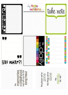 Free PDF mix of journal cards from Scrappy Sticky Inky Mess