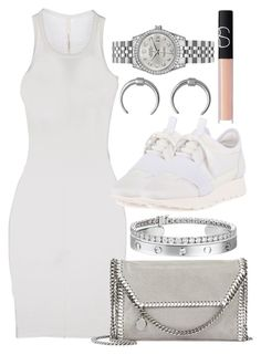 """""""WHITE SPRING #7"""" by camrzkn ❤ liked on Polyvore featuring ISABEL BENENATO, Balenciaga, STELLA McCARTNEY, Blue Nile, NARS Cosmetics and Rolex"""