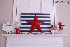Mantle design for Memorial Day, July Labor Day Patriotic Crafts, Patriotic Party, July Crafts, Holiday Crafts, Holiday Ideas, 4th Of July Celebration, 4th Of July Party, Fourth Of July, 4th Of July Wreath