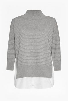 French Connection  Mozart Mix High Neck Jumper – Light Grey Mel/Winter White