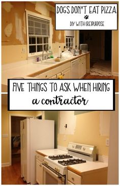 Hiring a contractor can be a stressful process. Answering a reader question for today's Friday Five: five questions to ask when hiring a contractor. Kitchen Sink Interior, White Kitchen Sink, Home Improvement Contractors, Home Improvement Projects, Eat Pizza, New Carpet, Home Ownership, Home Reno, Simple House