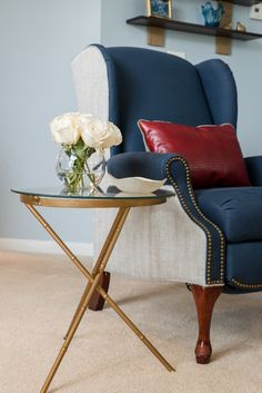 Dwell by Cheryl: Client Project Reveal. Reupholstered Wingback Chair with Nail head trim.  Budget Decorating with Vintage Furniture