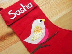 bird pattern for felt stocking