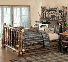 Aspen Log & Antler Bed with Metal Art Bear - Queen
