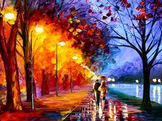 Postes iluminado e chuva