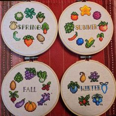 [FO] Stardew Valley seasonal crop cross-stitch series that my fiancee did. Cute Cross Stitch, Cross Stitch Designs, Cross Stitch Patterns, Embroidery Art, Cross Stitch Embroidery, Embroidery Patterns, Stitch Games, 8bit Art, Tsumtsum