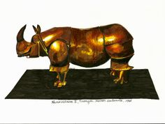 1000 lieux-2013- dessin d'après Rhinocrétaire de François-Xavier Lalanne au musée des arts décoratifs