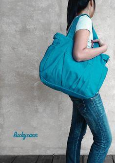 IRIS in Teal // Everyday Canvas Bag by Luckycann by luckycann, $46.00