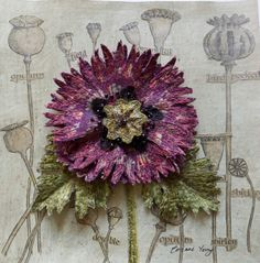 Botanical embroidery, textile art, assemblage, by Corinne Young.Love the way she's done machine embroidery, then cut it out and applied it to a backing image. Ribbon Embroidery, Floral Embroidery, Embroidery Stitches, Machine Embroidery, Textile Fiber Art, Textile Artists, Textile Sculpture, Creative Textiles, Creative Art