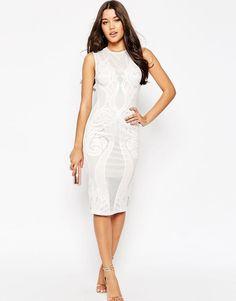 Image 1 of ASOS Premium Lace Paneled Midi Body-Conscious Dress