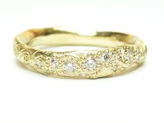 Katherine Bowman  18ct yellow gold 'Precious' ring with diamonds and engraving