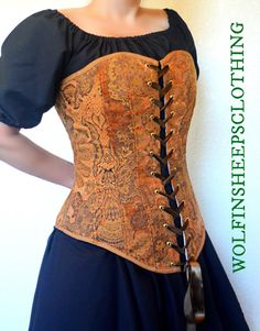 """This steel boned corset laces in the front with metal grommets, laced with coordinating satin ribbon.   The exterior of the corset is a copper chenille upholstery fabric, trimmed with a coordinating bias binding.  This garment is adjustable, (depending on how tightly you prefer to lace up), and generally accommodates bust sizes 37-44"""", waist sizes 31-36"""" and hip sizes 36-44"""""""". The length of the front of the bustier is 16 1/4"""" and the back is 12""""."""