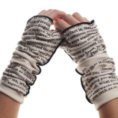 Pride and Prejudice Fingerless Writing Gloves. Handmade fingerless gloves, featuring text straight from Jane Austen's classic romantic novel, Pride and Prejudice. Jane Austen, Three Color Combinations, John Wilson, Pride And Prejudice, Hand Warmers, American Made, Fingerless Gloves, Creations, Cute Outfits
