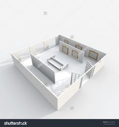 3d interior rendering perspective view of furnished exhibition room