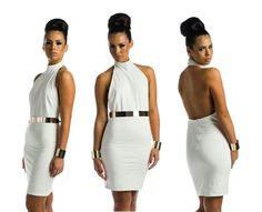 White and gold Fitted Dresses, Dresses For Work, Nice, Gold, Style, Fashion, Sheath Dresses, Swag, Moda