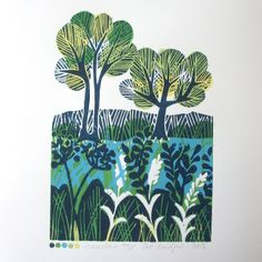 Meadow Lino Print #folksy