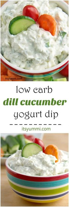Creamy Dill Cucumber Yogurt Dip Recipe - A healthier game day snack recipe. Greek yogurt, cream cheese, cucumbers, dill, and a few spices are all you need to make this yummi dip! Get the recipe from @