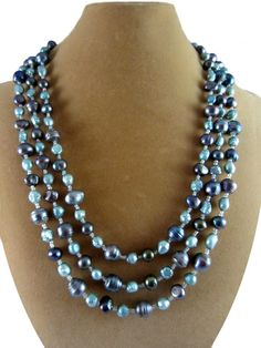 Triple strand necklace with mystic blue sea spray pearls Elegant Gowns, Gowns Of Elegance, Strand Necklace, Beaded Necklace, Jewelery, Jewelry Necklaces, Sea Spray, Gifts For Mom, Seed Beads