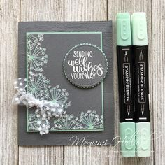 Megumi's Stampin Retreat: Dandelion Well Wishes Card - August Card Club Stampin Up, Wedding Day Wishes, Best Wishes Card, Dandelion Wish, Stamping Up Cards, Rubber Stamping, Beautiful Handmade Cards, Get Well Cards, Sympathy Cards