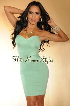 Mint Green Strapless Bandage Dress, wore this to a wedding and got tons of compliments