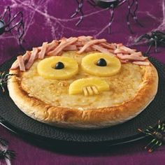 Hints and Ideas for Scary Halloween Pizza Toppings: Spooky Pizza Recipe from http://www.tasteofhome.com