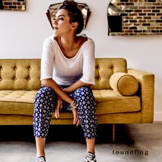 Kick back.. in Kabuki print soft cotton retro style pants - inspired by Japanese floral geometry.. www.foundling.com.au