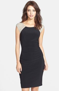 Xscape Studded Mesh & Jersey Sheath Dress available at #Nordstrom