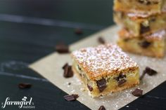Chess Pie Bars with Dark Chocolate - from a farmgirl's dabbles