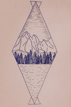 Simple geometric landscape design. Maybe to use as a tattoo...?