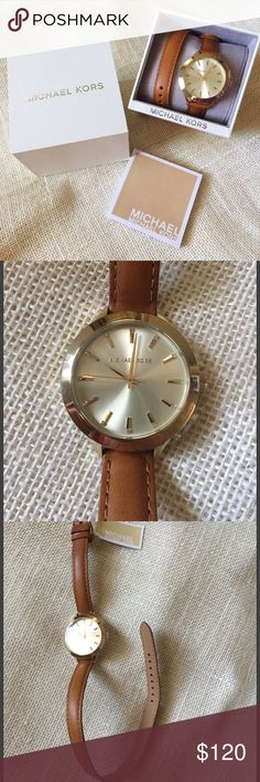 NWT Michael Kors ladies gold & leather wrap watch Brand new with tags and box. Michael Kors ladies watch. Cognac leather wrap bracelet. Wraps around wrist twice. Gold toned face abs buckle. Buckle has imprinted emblem. Instructions and warranty book included. Michael Kors Accessories Watches