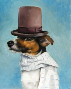Gunslinger Jack Russell Terrier, Stovepipe Top Hat & Striped Scarf, Aqua, Blue Background - Signed Small Print by, Clair Hartmann