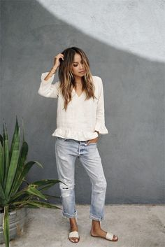 Blogger Style I Julie Sarinana (SincerelyJules): White blouse with Volants x boyfriend Jeans x sandals