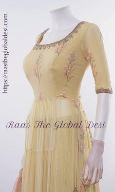 Cotton Anarkali, Anarkali Dress, Anarkali Suits, Indian Designer Suits, Designer Kurtis, Designer Dresses, Fancy Blouse Designs, Dress Neck Designs, Indian Fashion Dresses