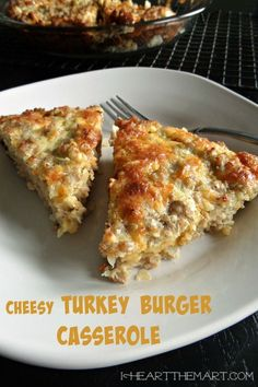 Turkey cheeseburger on a summer day but this Cheesy Turkey Burger Casserole on a cold winter day is a close second. It's an easy and delicious casserole that can be made ahead and warms up well. It's also an affordable meal for the whole family. Healthy Turkey Recipes, Turkey Burger Recipes, Baked Turkey Burgers, Ground Turkey Burgers, Ground Turkey Sausage, Beef Burgers, Hamburger Recipes, Veggie Burgers, Ground Turkey Dinners