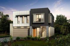 Fachada de casa de dos pisos en forma de cubo