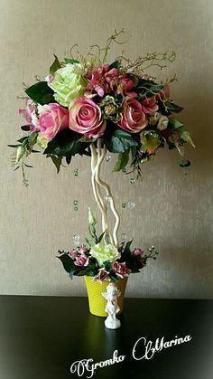 """Купить """"Ангельский водопад"""" - интерьерное украшение, искуственные цветы, топиарий, подарок на любой случай"""